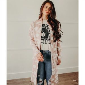 NWT UO Baby Pink Animal Print Leopard Cardigan M